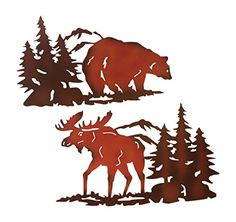 Cabin Ironworks Moose Decor and Bear Decor Metal Wall Art Set Pieces Included - 1 Bear and 1 Moose) - Lake House Cabin Decoration Metal Art, Art Wall, Sculptures, Poster Prints, Wall Sculptures, Wall Art Sets, Art, Prints, Metal Wall Art