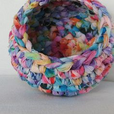 Crocheted Upcycled Fabric Bowl - SO COOL!!!