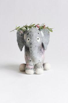 Ksenia  Felt Elephant  Art Toy. Puppet. Felt toy. by TwoSadDonkeys