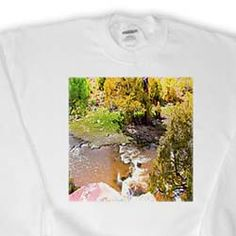 The River in Pine Valley, Utah Made to Look Like Miniature Scene in Vibrant Colors of Green and Gold Sweatshirt