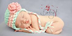 Newborn Hat Baby Girl Hat Teal Pink Teal Earflap Hat by mymimilove, $26.00