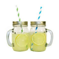 Toast to long days and warm nights with these trendy Lemonade Mugs. Fill them with anything from lemonade to white wine sangria for a lazy summer gathering in your backyard. The best part is that they come with multi-colored paper straws, this season's must-have for any party. Set includes six mugs and six colorful straws.