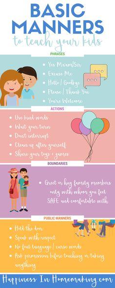 Basic Manners To Teach Your Kids - HappinessInHomemaking.com #basicmannersforkids #mannerstoteachkids #teachmannerstokids
