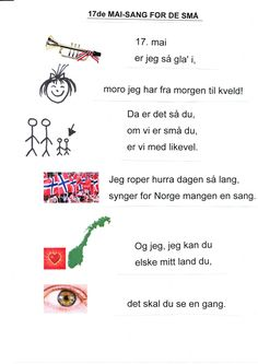 Har laget denne sangen slik at den er enklere å lære Norwegian Words, Constitution Day, Time To Celebrate, In Kindergarten, Norway, Singing, Songs, Teaching, Activities