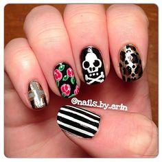 .@nails_by_erin: Skull Nail Art