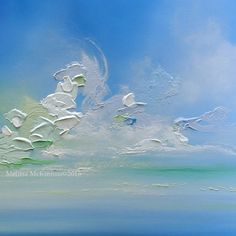 "MELISSA MCKINNON Contemporary Abstract Landscape Artist features BIG COLOURFUL PAINTINGS of Aspen & Birch Trees, Rocky Mountains and stunning views of the Canadian prairies, big skies and ocean beaches. Modern Art. Blue, turquoise and white abstract seascape painting of a tranquil blue ocean and a rich, colourful cloudy sky. 'KISS THE SKY' 36""x36"" 