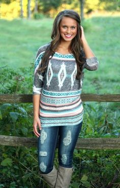 The Pink Lily Boutique - Everyday Aztec Tunic Cow Girl, Pink Lily Boutique, A Boutique, Cute Fashion, Fashion Outfits, Womens Fashion, Fall Winter Outfits, Autumn Winter Fashion, Bon Look