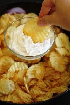 Onion Dip from Homemade Onion Soup Mix, mix can also be used for burgers, meatloaf, and roast.