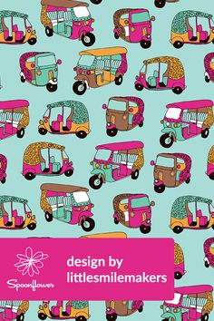 Add a pop of pattern with unique fabric, wallpaper & gift wrap. Shop over designs Indian Illustration, Car Illustration, Pattern Illustration, Textile Pattern Design, Fabric Patterns, Print Patterns, Print Wallpaper, Pattern Wallpaper, Fabric Wallpaper