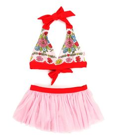 Look at this Red Ribbon Floral Skirted Bikini - Toddler & Girls on #zulily today!