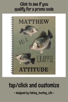 Crappie Attitude Fishing Notebook #crappie #fishing #fisherman #angler #outdoorsman #Notebook