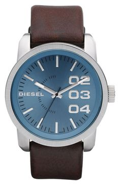Diesel leather strap watch