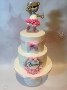 Ballerina bear christening cake by Claire Lynch - Quirky Cake Designs