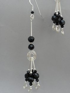 Long Sterling Silver and Swarovski Jet Black Crystal Earrings