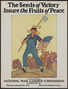 """During World War I, Maginel Wright Enright received the """"call"""" to design a series of posters for the United States School Garden Army (part of the National War Garden Commission). This national campaign was launched in 1917 to increase the food supply. Enright's posters, designed with strong flat colors and figures, depict an army of vegetables marching along with a child carrying a hoe."""