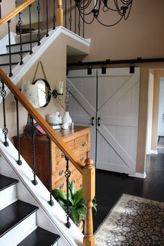 Sliding Barn Doors in Entryway | My Life From Home | by http://www.mylifefromhome.com | DIY barn doors | interior barn doors | entryway decor