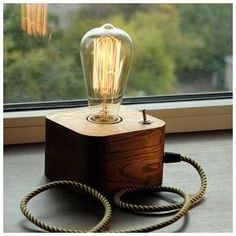 A wooden lamp designed for retro EDISON light bulbs.The lamp is made by hand from natural wood, polished and coated with Danish oil.Natural Oak. DETAILS - Base Dimensions: 12cm*12cm*7,5cm(4,8*4,8*3 inch) -Full height - 19,0cm (7,6 inch) - Cord Length: 150cm(60 inch) (european-type plug), for US users, Canada and Australia comes bundled with plug adapter - 40 watt Edison bulb included - E27 base | 60 watt max Payment Policy I accept only PayPal. If you dont have a PayPal account, just choose…