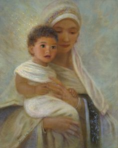 Madonna and child Jesus painted by Nancy Lee Moran in 2005, 10 x 8 oil painting (sold), title Behold the Light, Prints are available from the artist.