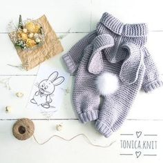 Diy Crafts - knitted baby romper, baby bunny costume, knitted baby clothes, newborn crochet outfit, baby winter c Winter Baby Clothes, Knitted Baby Clothes, Knitted Romper, Crochet Clothes, Crochet Outfits, Knit Baby Dress, Babies Clothes, Babies Stuff, Baby Knitting Patterns