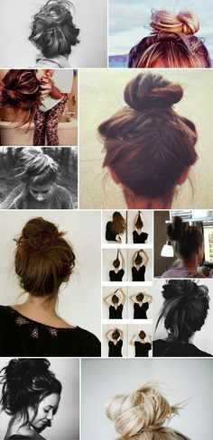 messy buns (hold hair straight up, twist into bun, let it fall into messy place)
