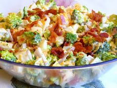 Broccoli cheese ham bacon egg w/dressing Low Carb Recipes, Diet Recipes, Cooking Recipes, Healthy Recipes, Recipies, Banting Recipes, Healthy Dishes, Healthy Salads, Diabetic Recipes