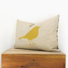 Bird pillow cover - Mustard yellow bird print on natural canvas front and geometric printed backing - 12x18 lumbar pillow cover