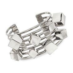 "Sterling Silver Geometric Multi-Row Cuff Bracelet. 7"" | #819098 @ ross-simons.com"