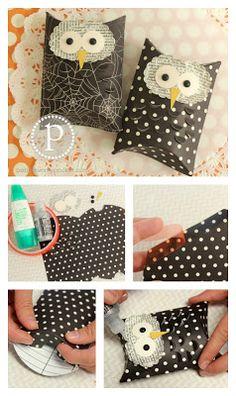 Owl Pillow Box Tutorial...make for Halloween school treats?