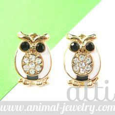 Cute Owl Shaped Bird Animal Enamel Stud Earrings in White from Dotoly Love $6.50 #owls Birds #animals #jewelry #earrings