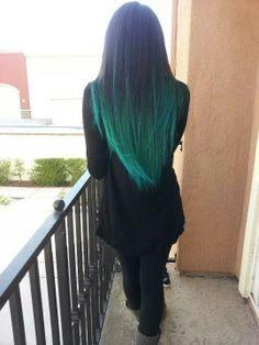 Awesome Teal Hair. Might be more willing to do an ombré like this one