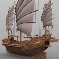 chinese junk - and obj model obj mtl pdf 5 Chinese Boat, Junk Ship, Model Ships, 3d Animation, Water Crafts, Sailboat, Sailing Ships, 3d Printing, Low Poly