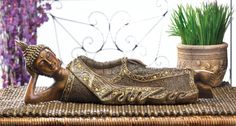 Lounging Buddha Statue - This unique Buddha statue reminds you to take a moment to bask in the beauty of the moment. Lounging Buddha wears a beautiful robe and headdress with glimmering accents that will enhance your room's style. Yoga Studio Home, Buddha Zen, Zen Meditation, Recycled Art, Fashion Room, Headdress, Centerpiece, In This Moment, Shoulder Bag
