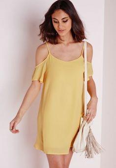 570adfcfed2 Crepe Cold Shoulder Strappy Swing Dress Lemon Discount Dresses