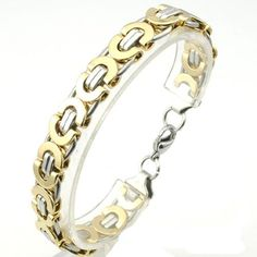 Mens Stainless Steel Silver & Gold Byzantine Bracelet Chain Hip Hop Hot New Fashion 2015 Jewelry Wholesale retial Quality KB150.Buy at styleroom36.com