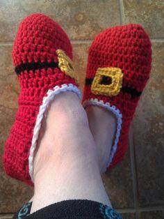 Ladies Santa Slippers - via @Craftsy