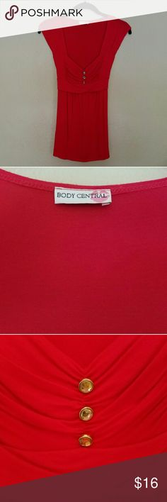 "Body Central Red, Baby Doll, Sleeveless Top Body Central, Red Color, Baby Doll, Sleeveless Top with 3 Faux Silver Rhinestone Buttons at the Bust Line. Ties in the Back. 15"" from under arm to under arm.  25"" from shoulder to bottom hem. 20"" across hem.   Size tag was removed but I am sure it is a Small.  Material Tag was removed. Seems to be a Cotton/Polyester/Rayon blend.  Extremely Soft.  Excellent Condition Body Central Tops"