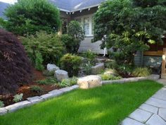Rain garden surrounded by shrubs gives it a more natural, less contrived look.