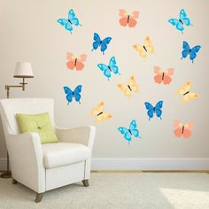 Printed Butterfly Wall Decals   Set Of 16. Kids Room ...
