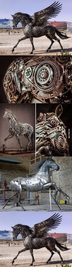 The Art Of UpCycling Steampunk Horses Scrap Metal Horses That - Salvaged scrap metal transformed to create graceful kinetic steampunk sculptures