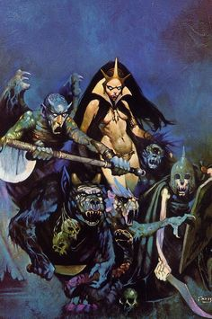 Classic Frazetta, from War of the Ring - Warren Publications. The Black Queen & her 'Board Mates'.