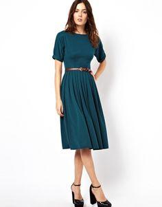 Платье миди со свободной юбкой и ремешком ASOS