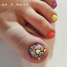 Cute Toe Nails, Toe Nail Art, Love Nails, How To Do Nails, Fun Nails, Gel Nail Art Designs, Pedicure Designs, Purple And Pink Nails, Pedicure Nails