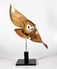 Medium: kauri, painted MDF Base, aluminum rod, hematite eyes. Size: 29.5 x 14 x 17 inches incl base. 2nd Carving /Sculpture - Open in New Zealand National Woodskills Competition in Kawerau on 24 September 2015 Inhabiting open country the Barn Owl is the world's most widespread owl occurring almost worldwide. A large, pale buff and white plumaged owl is readily identifiable with its mournful, heart-shaped white facial disc.