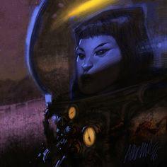 """Omaggio di Ausonia per """"The Shadow Planet"""", progetto Radium in crowdfunding. #scifi #comics #character #crowdfunding"""