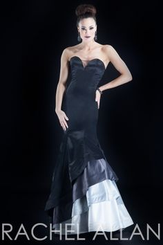 Matte satin sweetheart neck gown with gradient bottom
