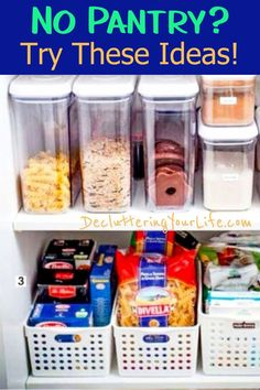 Organizing life in my kitchen! Small Pantry Cabinet Organization Ideas - How To Organize a Small Kitchen without a Pantry Small apartment organization ideas and organizing tips for small kitchens. How to organize food with NO pantry solutions Small Apartment Organization, Small Pantry Organization, Small Apartment Kitchen, Kitchen Cabinet Organization, Kitchen Storage, Organizing Tips, Pantry Ideas, Organization Hacks, Pantry Storage