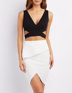 Cut-Out V-Neck Crop Top: Charlotte Russe