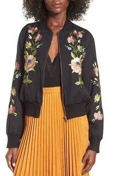 Free shipping and returns on Glamorous Embroidered Bomber Jacket at…