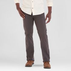 Crafted by Lee Men's Stretch Twill Pants Smoke (Grey) 38x32