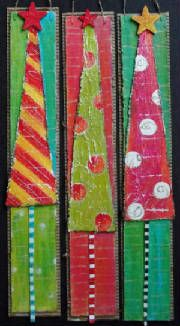 Sapins en carton/ think about using old ties to achieve this look Christmas Canvas, Noel Christmas, Christmas Crafts For Kids, Christmas Activities, Christmas Projects, All Things Christmas, Holiday Crafts, Christmas Decorations, Christmas Ornaments